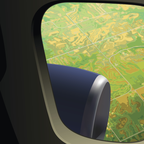 Illustration of the view out of a plane window