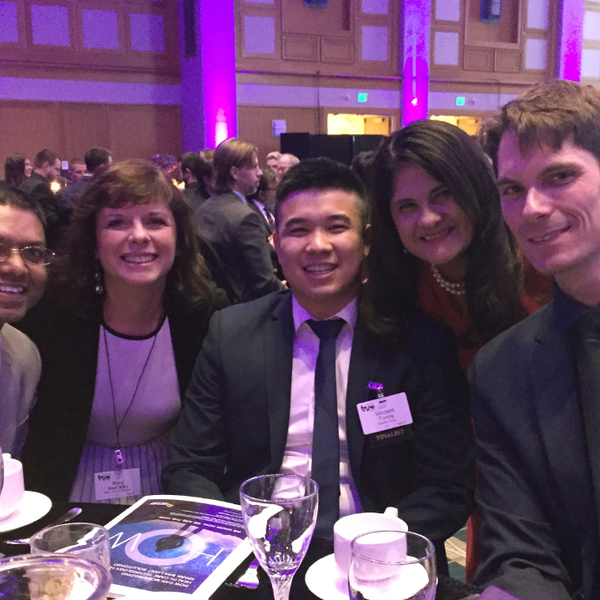 U of M researchers and staff, along with an MHTA staff member, gather for a photo at the Tekne Awards event