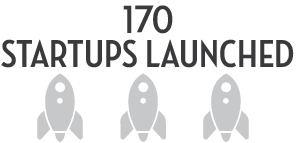 170 Startups Launched, graphic of three rocket ships side-by-side