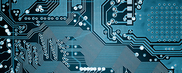 close up of a blue-hued computer chip
