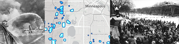 three images: a fire from a bridge view, a heat map of minneapolis, a group of people gathered outside at the UofM