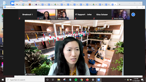 Yingling Fan presenting via a Zoom screen